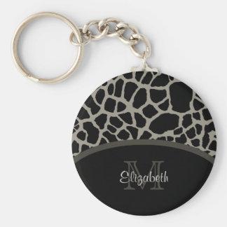 Luxury Giraffe Print Elegant Monogram and Name Basic Round Button Key Ring