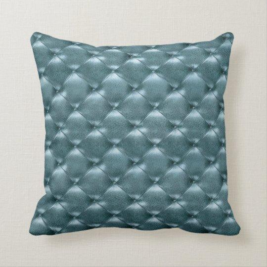 Luxury Glam Tufted Leather Opulent Aquatic Blue Throw