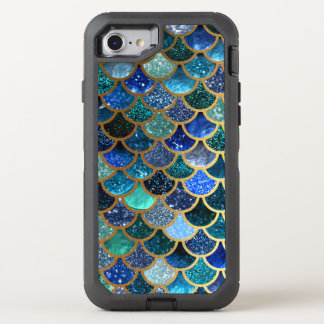 Luxury Glitter Blue Teal Mermaid Scales OtterBox Defender iPhone 8/7 Case