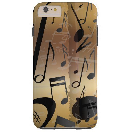 Luxury Gold and Black Music Notes Tough iPhone 6 Plus Case