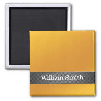 Luxury gold and carbon business square magnet