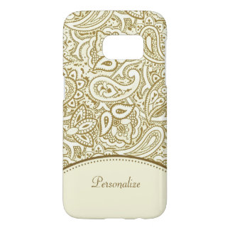Luxury Gold and Ivory Paisley Damask With Name