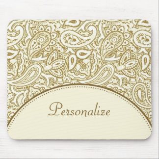 Luxury Gold and Ivory Paisley Damask With Name Mouse Mat