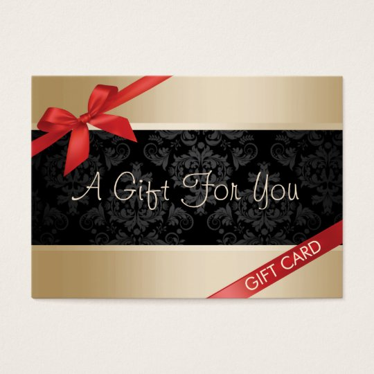 Luxury Gold Background Red Ribbon Gift Certificate