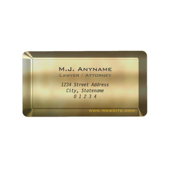 Luxury gold bar effect Lawyer / Attorney design Address Label