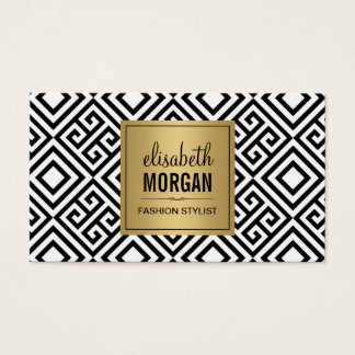 Luxury Gold Black and Abstract Geometric Pattern Business Card