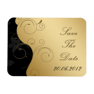 Luxury Gold-Black Save The Date - Flexible Magnet