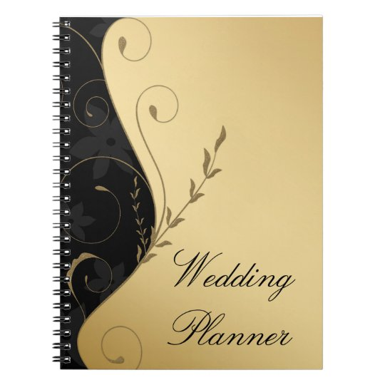 Luxury Gold-Black Wedding Planner Notebook