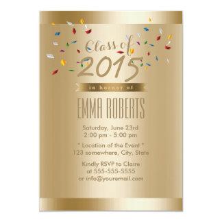 Luxury Gold Border Graduation Party 13 Cm X 18 Cm Invitation Card