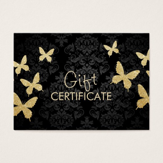 Luxury Gold Butterflies Damask Gift Certificate