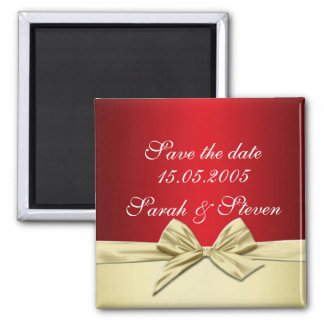 Luxury Gold Christmas Ribbon Save the date Square Magnet