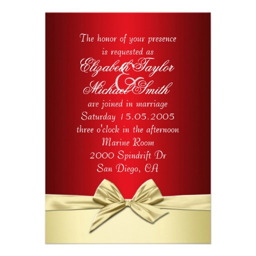 Luxury Gold Christmas Ribbon Wedding Invite Card