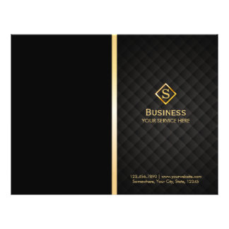 Luxury Gold Diamond Monogram Elegant Bi-Fold 21.5 Cm X 28 Cm Flyer