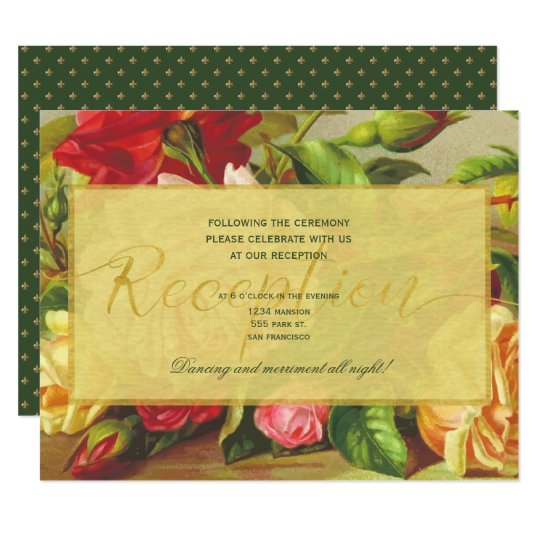 Luxury gold elegant roses fleurdelis reception card