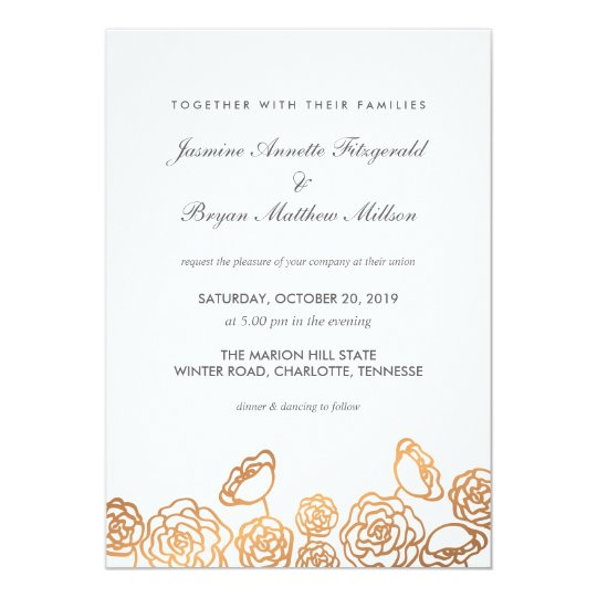 Luxury Gold Foil Floral Modern Wedding Card