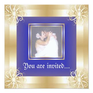 Luxury Gold Frame Wedding Photo Invitations