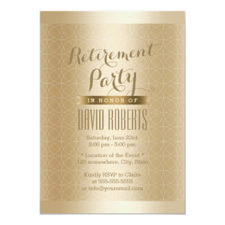 Luxury Gold Geo Pattern Retirement Party 13 Cm X 18 Cm Invitation Card