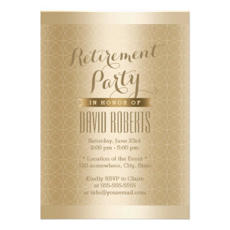 Luxury Gold Geo Pattern Retirement Party Invite