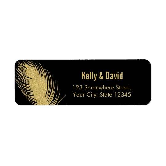 Luxury Gold Glitter Peacock Feather Modern Wedding