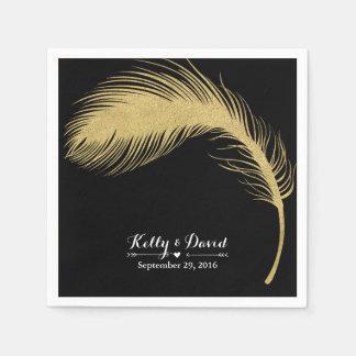 Luxury Gold Glitter Peacock Feather Modern Wedding Disposable Napkin