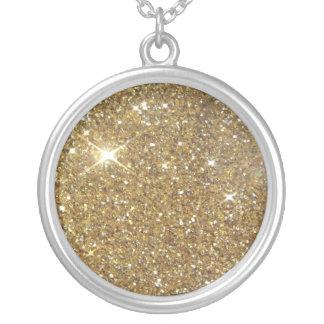 Luxury Gold Glitter - Printed Image Round Pendant Necklace