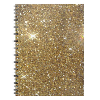Luxury Gold Glitter - Printed Image Spiral Note Book
