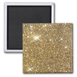 Luxury Gold Glitter - Printed Image Square Magnet