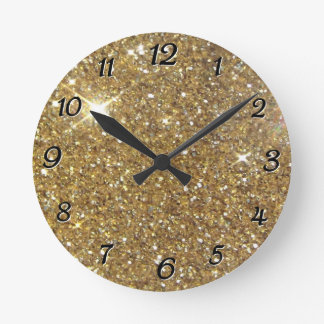 Luxury Gold Glitter - Printed Image Wallclock
