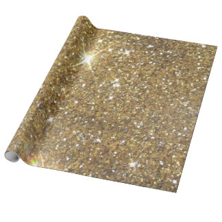Luxury Gold Glitter - Printed Image Wrapping Paper