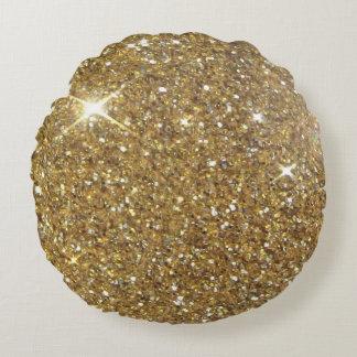 Luxury Gold Glitter Sparkle Round Pillow