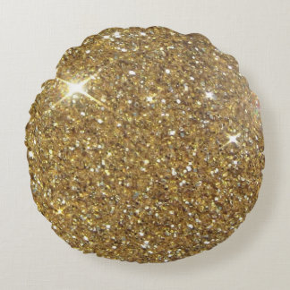 Luxury Gold Glitter Sparkle Round Pillow