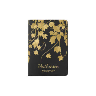Luxury Gold Leaves on Black Passport Holder