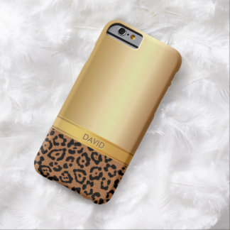 Luxury Gold & Leopard Custom Name iPhone 6 case