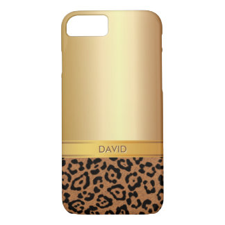 Luxury Gold & Leopard Custom Name iPhone 7 case