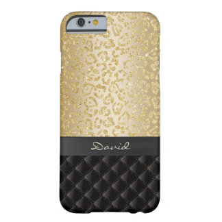 Luxury Gold Leopard Print Custom Name Barely There iPhone 6 Case