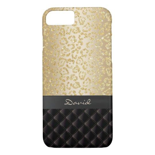 Luxury Gold Leopard Print Custom Name iPhone 8/7