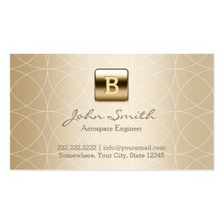Luxury Gold Monogram Aerospace Engineer Pack Of Standard Business Cards