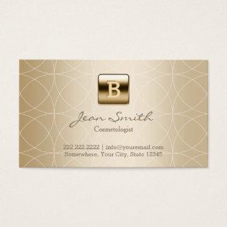 Luxury Gold Monogram Cosmetologist Business Card