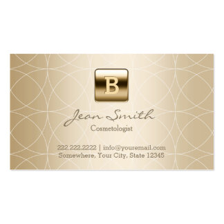 Luxury Gold Monogram Cosmetologist Pack Of Standard Business Cards