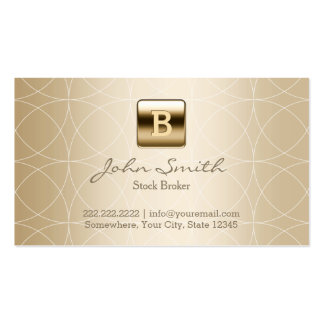Luxury Gold Monogram Stock Broker Double-Sided Standard Business Cards (Pack Of 100)