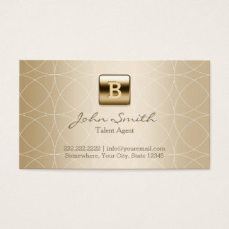 Luxury Gold Monogram Talent Agent Business Card