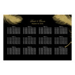 Luxury Gold Peacock Feather Wedding Seating Chart