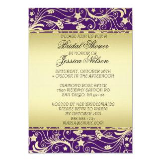 Luxury Gold Purple Floral Swirls Shower Invite