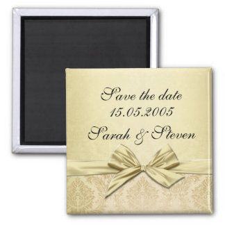 Luxury Gold Ribbon Damask Save the date Magnet