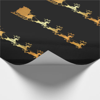 Luxury gold Santa on black X-mas wrapping paper