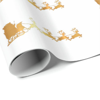 Luxury gold Santa on white X-mas wrapping paper