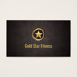 Luxury Gold Star Fitness Leather Business Card