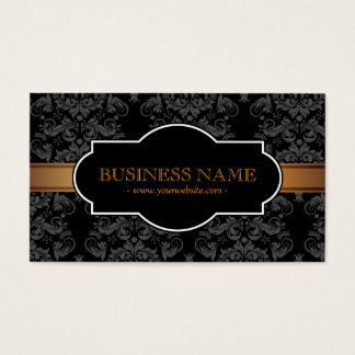 Luxury Gold Stripe Black Damask Business Card