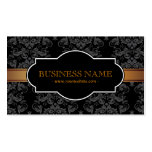 Luxury Gold Stripe Black Damask Business Card