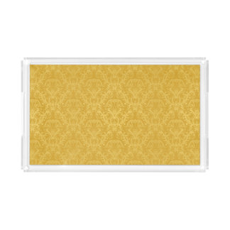 Luxury Golden Floral Wallpaper Acrylic Tray